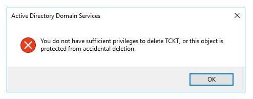 cannot delete OU1